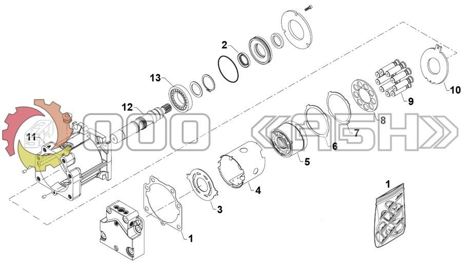 Запчасти для гидромотора Sauer Danfoss 90M180