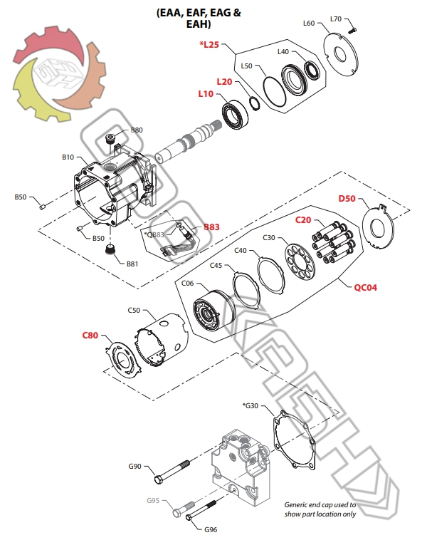 Запчасти для гидромотора Sauer Danfoss 90C055