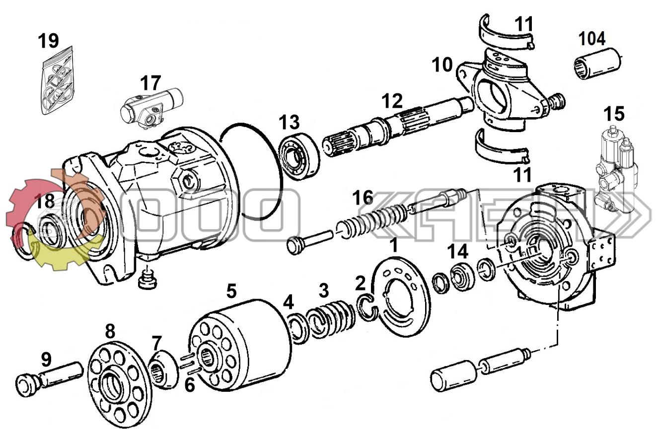 Запчасти для гидронасоса Bosch Rexroth A10VSO85 /31 серия