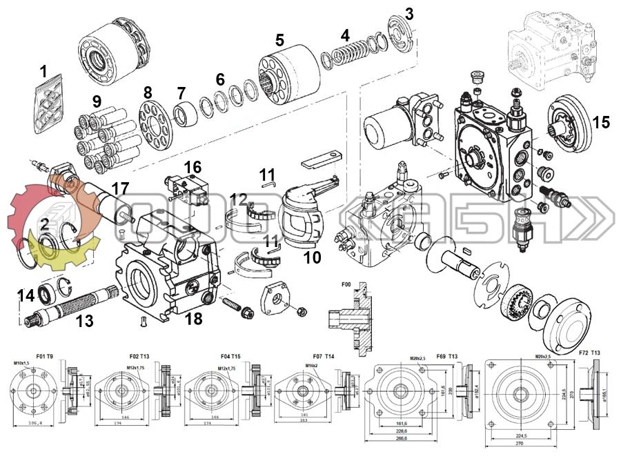 Запчасти для гидронасоса Bosch Rexroth A4VG56
