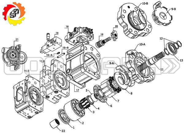 Запчасти для гидронасоса Kawasaki K5V180