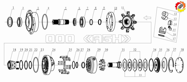 Запчасти для гидромотора Bosch Rexroth MCR3