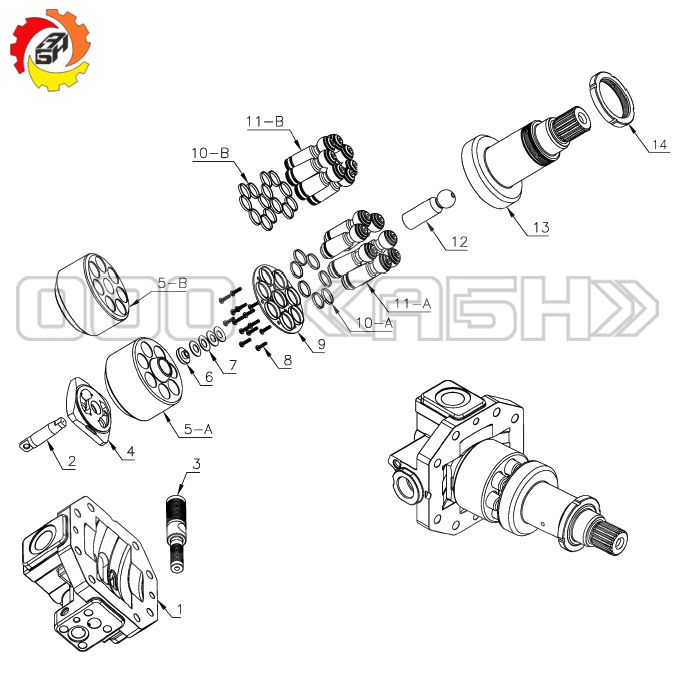 Запчасти для гидромотора Bosch Rexroth A6VE107