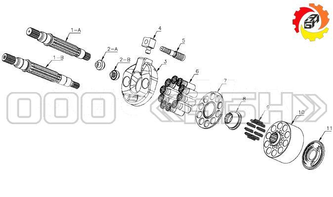 Запчасти для гидронасоса Kawasaki K3SP36C