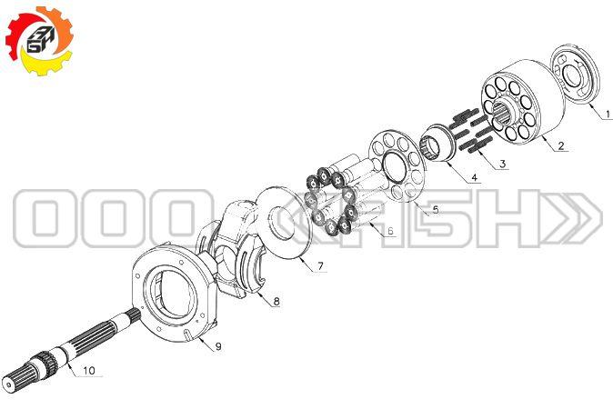 Запчасти для гидронасоса Kawasaki K3VG63