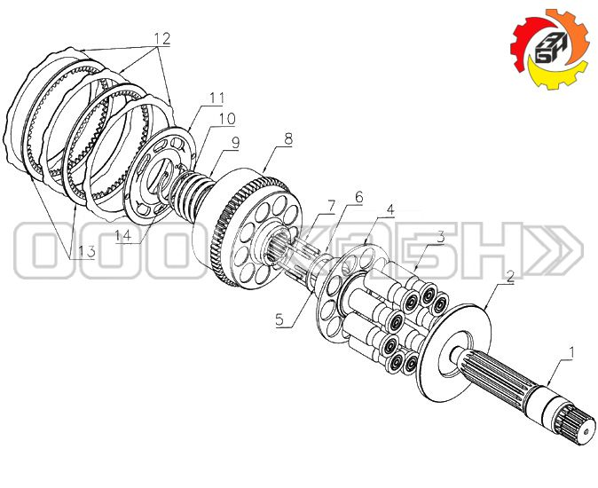 Запчасти для гидромотора Kawasaki M2X120