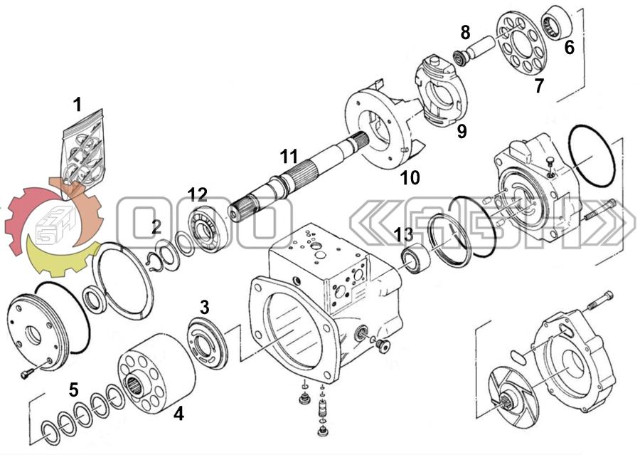 Запчасти для гидронасоса Kawasaki NV237