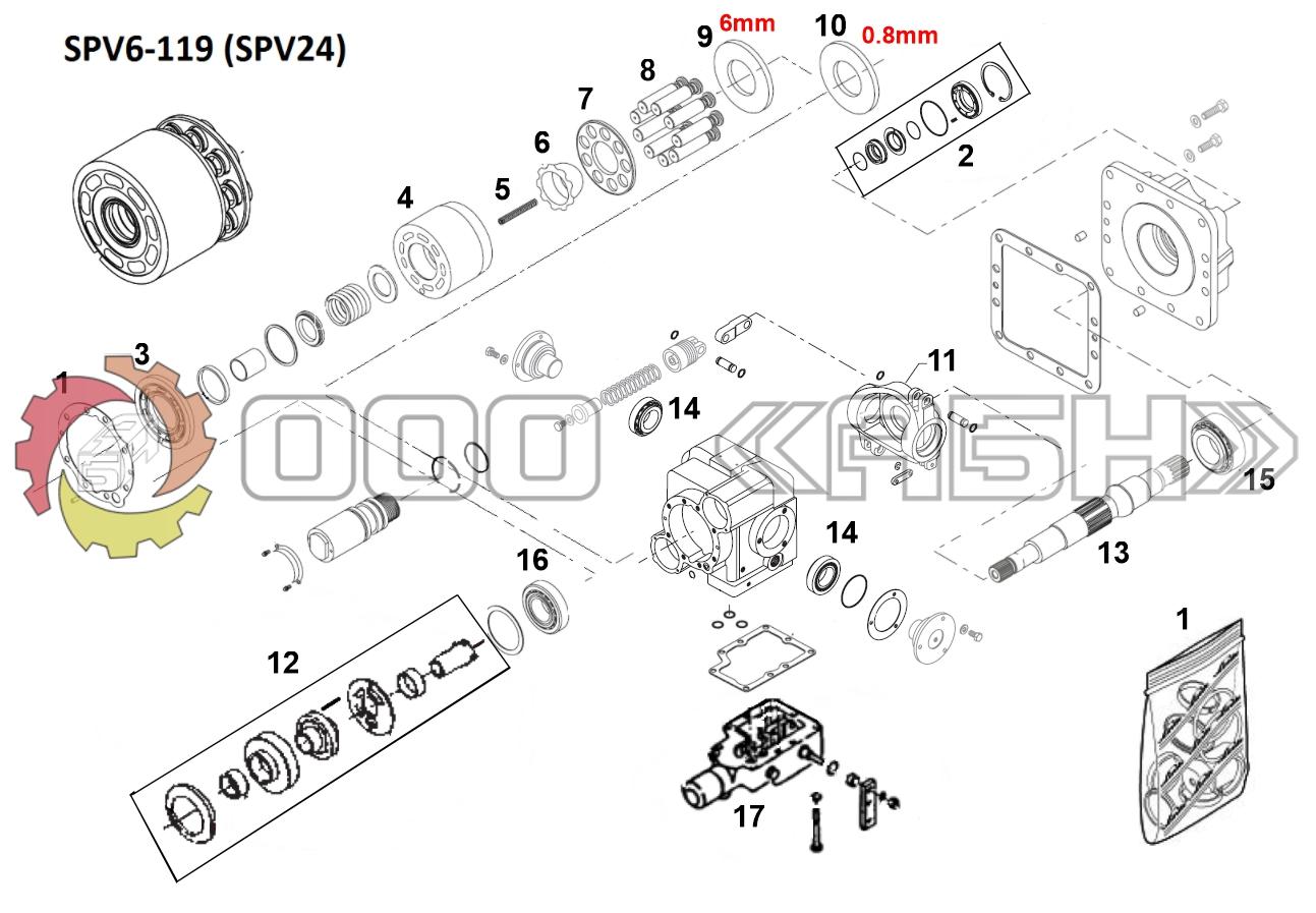 Запчасти для гидронасоса Sauer Danfoss SPV24