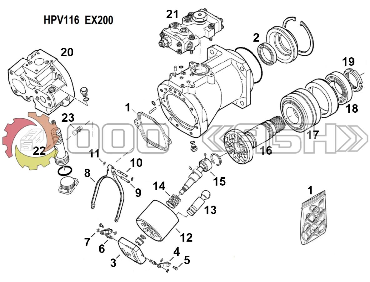 Запчасти для гидронасоса Hitachi HPV116 (EX200 / EX220 / EX300-1 / EX300-2 / EX300-3 / EX300-5)