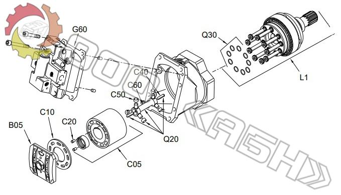 Запчасти для гидромотора Sauer Danfoss 51V250
