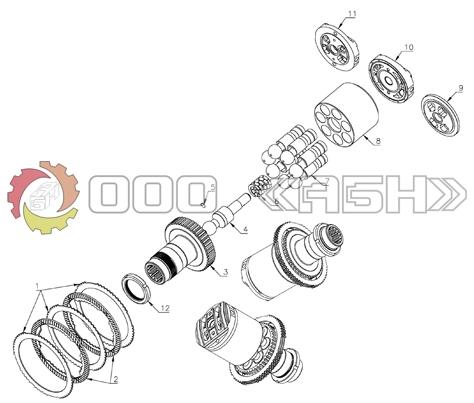 Запчасти для гидромотора Hitachi HMV57 (EX200-3/5 , EX220-3/5, EX300-3/5 , EX320-3/5 , EX330-2/3 , EX350-2/3)