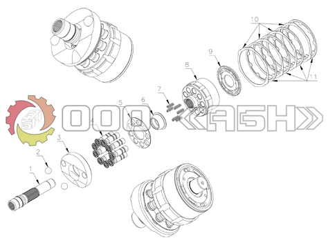 Запчасти для гидромотора Hitachi HMGF40 (EX330LC-3 , ZX330 , ZX350 , ZX370)