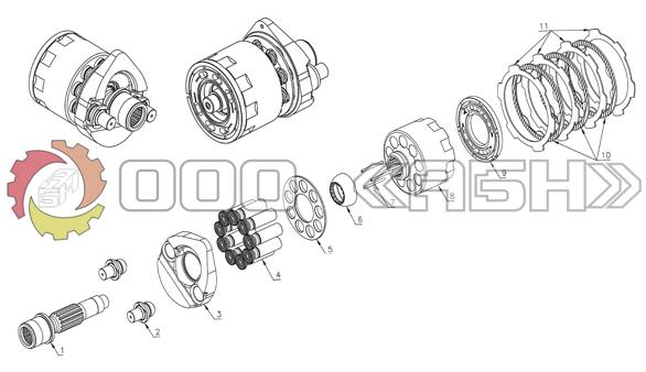 Запчасти для гидромотора Komatsu HMV110 (PC200-6 , PC200-7)