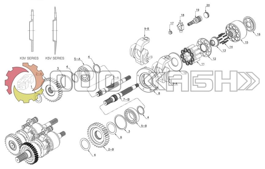 Запчасти для гидронасоса Kawasaki K3V112DP