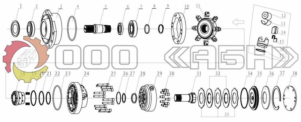 Запчасти для гидромотора Poclain MS250