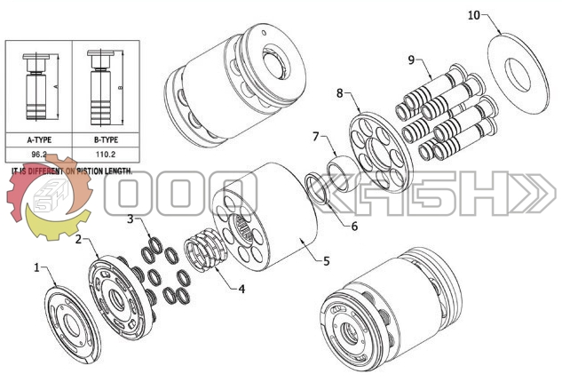 Запчасти для гидромотора Mitsubishi PPS140 (MS160 , MS180 , MS230 , MS280)