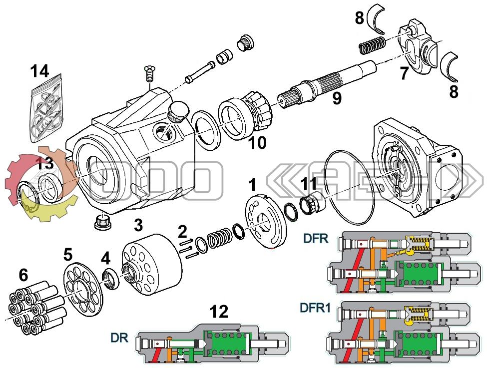 Запчасти для гидронасоса Bosch Rexroth A10VO85 /52 серия