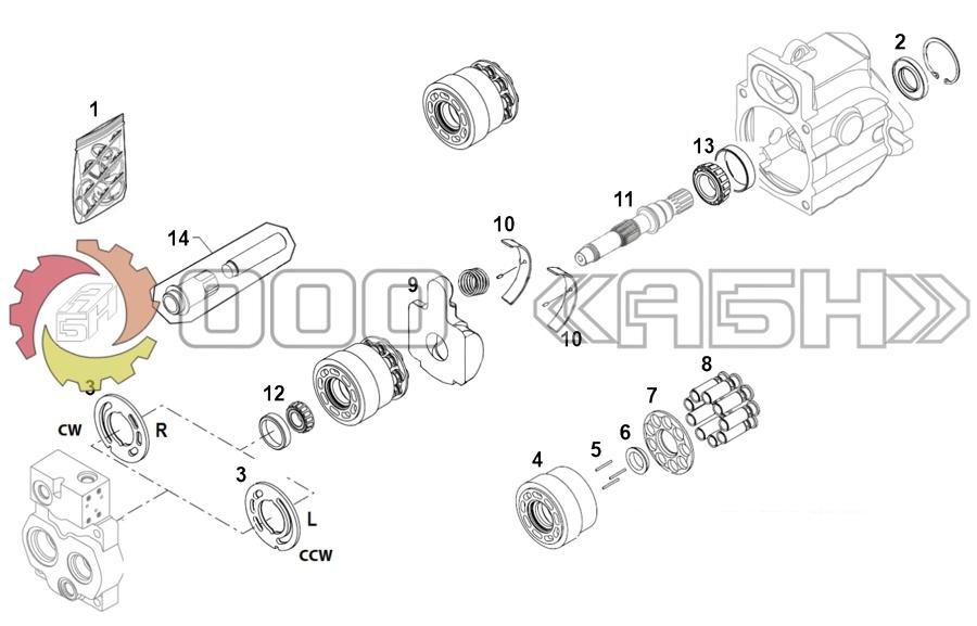 Запчасти для гидронасоса Sauer Danfoss KRR045