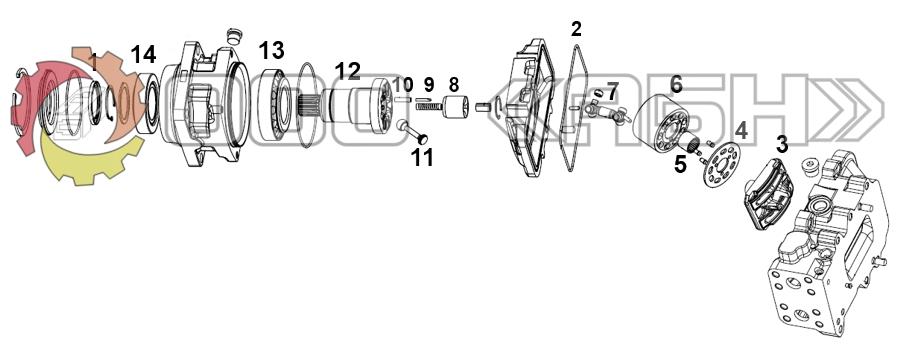 Запчасти для гидромотора Parker V14-110